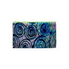 Green Blue Circle Tie Dye Kaleidoscope Opaque Color Cosmetic Bag (XS)
