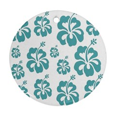 Hibiscus Flowers Green White Hawaiian Blue Ornament (Round)