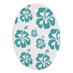 Hibiscus Flowers Green White Hawaiian Blue Ornament (Oval)