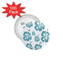 Hibiscus Flowers Green White Hawaiian Blue 1.75  Buttons (100 pack)