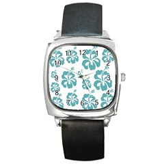 Hibiscus Flowers Green White Hawaiian Blue Square Metal Watch