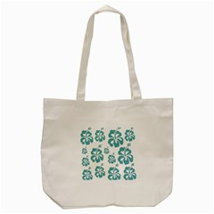 Hibiscus Flowers Green White Hawaiian Blue Tote Bag (Cream)