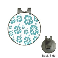 Hibiscus Flowers Green White Hawaiian Blue Hat Clips with Golf Markers