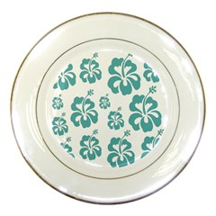 Hibiscus Flowers Green White Hawaiian Blue Porcelain Plates