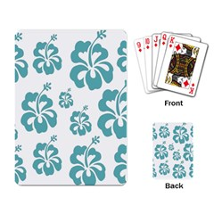Hibiscus Flowers Green White Hawaiian Blue Playing Card