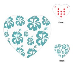 Hibiscus Flowers Green White Hawaiian Blue Playing Cards (Heart)