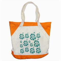 Hibiscus Flowers Green White Hawaiian Blue Accent Tote Bag