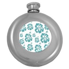 Hibiscus Flowers Green White Hawaiian Blue Round Hip Flask (5 oz)