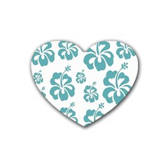 Hibiscus Flowers Green White Hawaiian Blue Rubber Coaster (heart)
