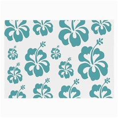 Hibiscus Flowers Green White Hawaiian Blue Large Glasses Cloth (2-Side)