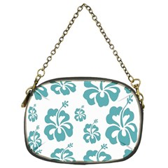 Hibiscus Flowers Green White Hawaiian Blue Chain Purses (One Side)