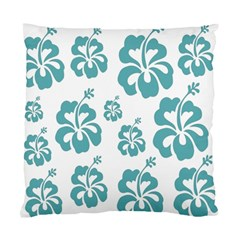 Hibiscus Flowers Green White Hawaiian Blue Standard Cushion Case (Two Sides)