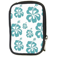 Hibiscus Flowers Green White Hawaiian Blue Compact Camera Cases