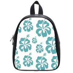 Hibiscus Flowers Green White Hawaiian Blue School Bags (Small)
