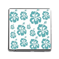 Hibiscus Flowers Green White Hawaiian Blue Memory Card Reader (Square)