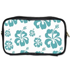 Hibiscus Flowers Green White Hawaiian Blue Toiletries Bags 2-Side