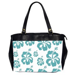 Hibiscus Flowers Green White Hawaiian Blue Office Handbags (2 Sides)