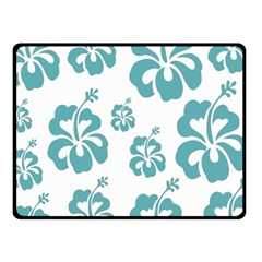 Hibiscus Flowers Green White Hawaiian Blue Fleece Blanket (Small)