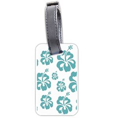 Hibiscus Flowers Green White Hawaiian Blue Luggage Tags (One Side)