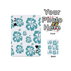 Hibiscus Flowers Green White Hawaiian Blue Playing Cards 54 (mini)