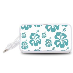 Hibiscus Flowers Green White Hawaiian Blue Portable Speaker (White)