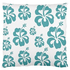 Hibiscus Flowers Green White Hawaiian Blue Large Cushion Case (Two Sides)