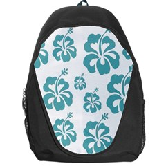 Hibiscus Flowers Green White Hawaiian Blue Backpack Bag
