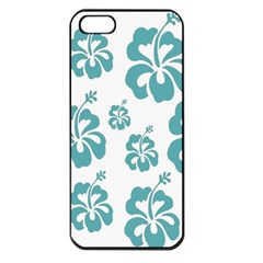 Hibiscus Flowers Green White Hawaiian Blue Apple iPhone 5 Seamless Case (Black)
