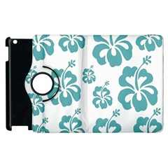 Hibiscus Flowers Green White Hawaiian Blue Apple iPad 2 Flip 360 Case