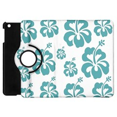 Hibiscus Flowers Green White Hawaiian Blue Apple iPad Mini Flip 360 Case