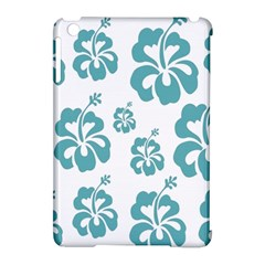 Hibiscus Flowers Green White Hawaiian Blue Apple iPad Mini Hardshell Case (Compatible with Smart Cover)