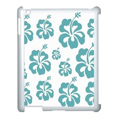 Hibiscus Flowers Green White Hawaiian Blue Apple iPad 3/4 Case (White)