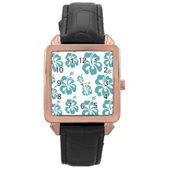Hibiscus Flowers Green White Hawaiian Blue Rose Gold Leather Watch