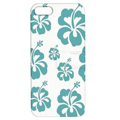 Hibiscus Flowers Green White Hawaiian Blue Apple iPhone 5 Hardshell Case with Stand