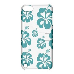 Hibiscus Flowers Green White Hawaiian Blue Apple iPod Touch 5 Hardshell Case with Stand