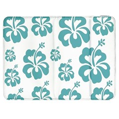 Hibiscus Flowers Green White Hawaiian Blue Samsung Galaxy Tab 7  P1000 Flip Case