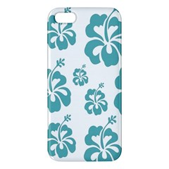 Hibiscus Flowers Green White Hawaiian Blue iPhone 5S/ SE Premium Hardshell Case