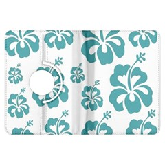 Hibiscus Flowers Green White Hawaiian Blue Kindle Fire HDX Flip 360 Case