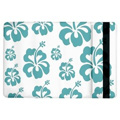 Hibiscus Flowers Green White Hawaiian Blue iPad Air Flip