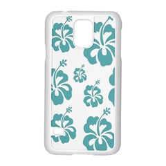 Hibiscus Flowers Green White Hawaiian Blue Samsung Galaxy S5 Case (White)