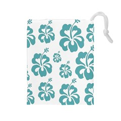 Hibiscus Flowers Green White Hawaiian Blue Drawstring Pouches (Large)