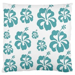 Hibiscus Flowers Green White Hawaiian Blue Large Flano Cushion Case (One Side)
