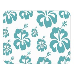 Hibiscus Flowers Green White Hawaiian Blue Double Sided Flano Blanket (Large)