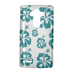 Hibiscus Flowers Green White Hawaiian Blue LG G4 Hardshell Case
