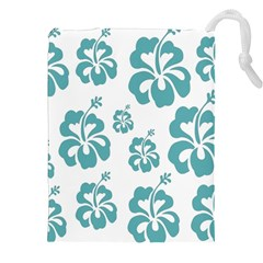 Hibiscus Flowers Green White Hawaiian Blue Drawstring Pouches (XXL)