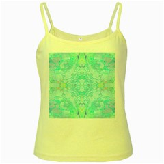 Green Tie Dye Kaleidoscope Opaque Color Yellow Spaghetti Tank