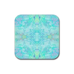 Green Tie Dye Kaleidoscope Opaque Color Rubber Square Coaster (4 pack)