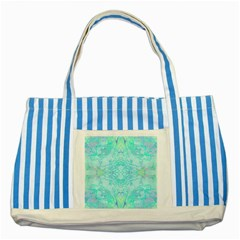 Green Tie Dye Kaleidoscope Opaque Color Striped Blue Tote Bag