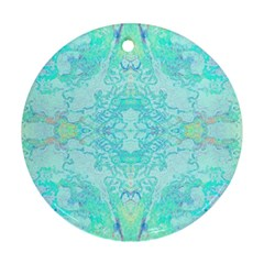 Green Tie Dye Kaleidoscope Opaque Color Round Ornament (Two Sides)