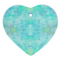 Green Tie Dye Kaleidoscope Opaque Color Heart Ornament (Two Sides)